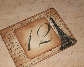 Vintage Style Paris Eiffel Tower French Script Luxury Table Numbers/Names Wedding Original Design
