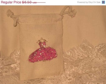Muslin Wedding Shower Party Favor Gift Pouches Adorned with Hot Pink Glitz