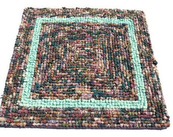 """Fall into autum in multi purples and green woven trivet X2 on rug canvas  16"""" x 16"""""""