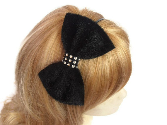 Bow headband, Black velvet headband, Black velvet bow headband with rhinestone piece, Black Velvet Hairbow Hair Bow Headband