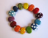 Kazuri Bead Bangle, Beaded Bracelet, Fair Trade Ceramic Beads, Rainbow Colored