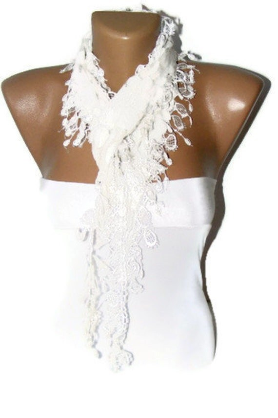 Christmas gift Christmas giftNEW fashion scarves,new scarf trends,White scarf,Cowl Scarf with Lace Edge,christmas gift for her
