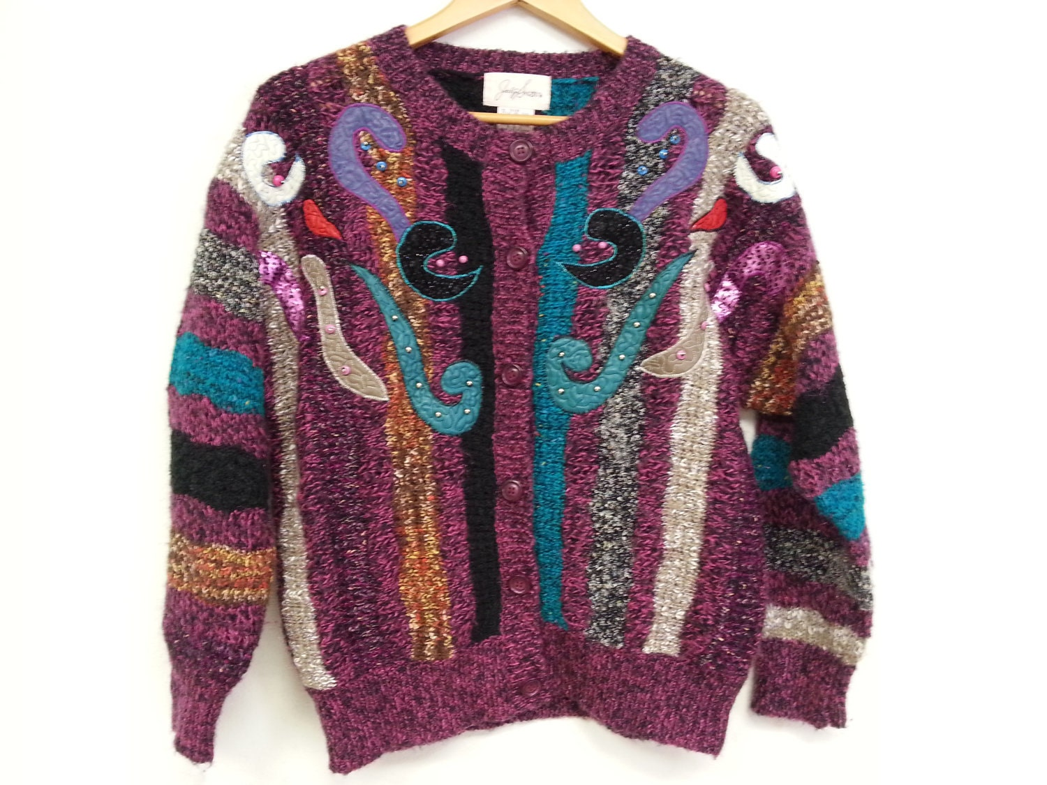 80s vintage funky fun / ugly sweater women large