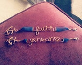 Customizable Word Bracelet/ Military Support with Anchor Clasp