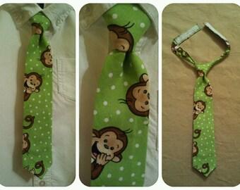 Handmade 18 month - 4T Boys Monkey Velcro Tie