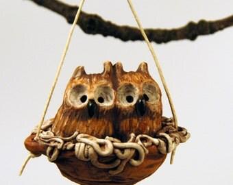 sleeping baby screech owls ornament