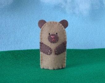 Little Brown Bear Felt Finger Puppet - Felt Bear Puppet - Felt Finger Puppet Bear - Felt Animal Puppet - Animal Puppet