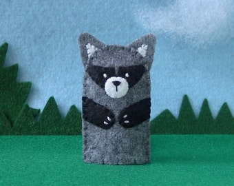 Raccoon Finger Puppet - Felt Woodland Animal Puppet - Felt Finger Puppet Raccoon - Toy Raccoon Puppet