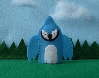 Bluejay Bird Finger Puppet - Blue Jay Puppet - Garden Bird Puppet - Felt Finger Puppet  Bluejay