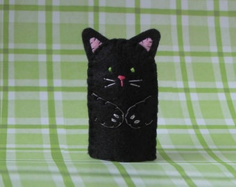 Black Cat Finger Puppet with Green Eyes - Black Cat Puppet - Felt Cat Finger Puppet - Felt Animal Puppet - Pet Cat