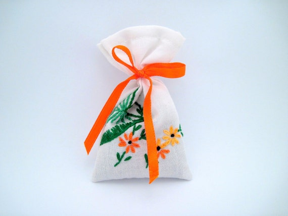 Dried Lavender Sachet - Ribbon - Orange Flowers - Recycled Embroidered Linens