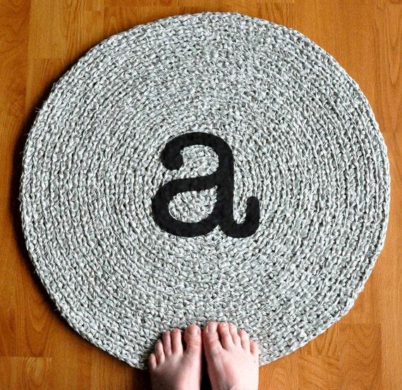 Rag Rug Monogram A Applique Crochet Rug SALE