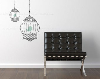 Fancy Bird Cage Vinyl Wall Decal size SMALL - Bird, Bird Decal, Bird Sticker, Bird Cage Wall Art, Decorative Bird Cage, Home Décor Bird Cage