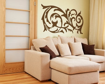 Ornamental Swirl Vinyl Decal size LARGE - Office Decor, Home Decor, Bedroom Decal, Artistic Flair,