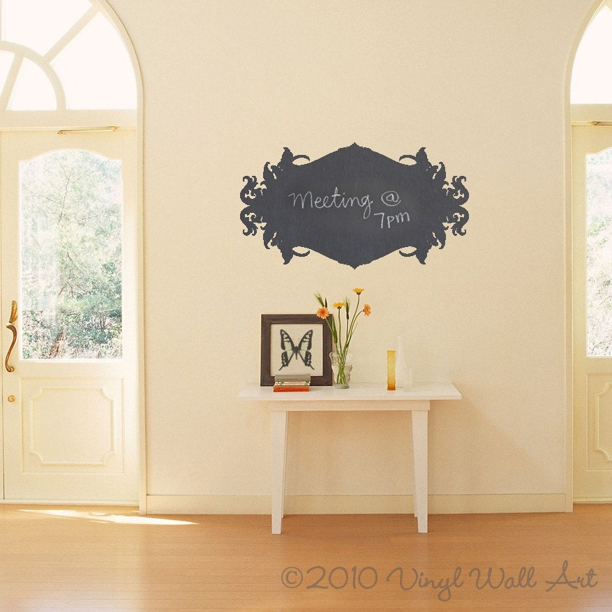 ornate chalkboard vinyl wall decal size small message pad. Black Bedroom Furniture Sets. Home Design Ideas