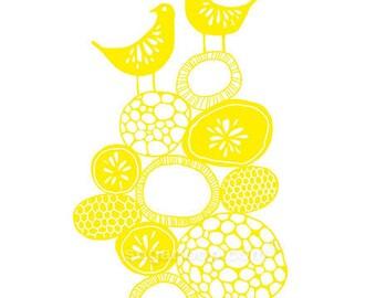 "Lemon, Citrus, Bird, Art, Yellow, Office, Studio, Nursery, Bedroom, Art Print  8"" x 10"""
