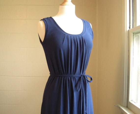 Navy Blue Cotton Maxi tank Dress Womens Long Maxi sleeveless jersey sundress holiday party dress fashion ankle length dress - Made to order