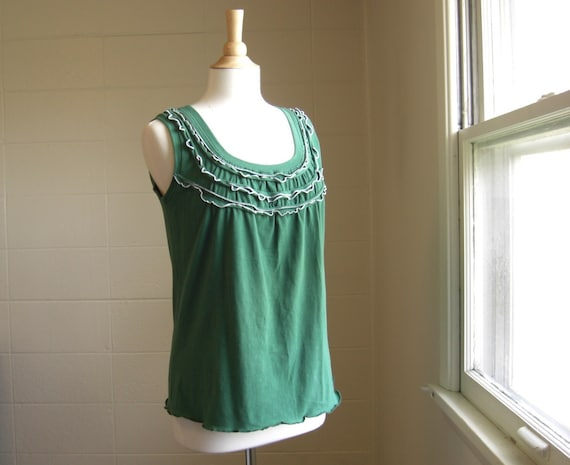 Womens Ruffle Tank Top with Contrast Stitching - Made to Order