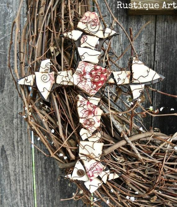 Christian Home Decor  Mosaic  Fleur de Lis Wall Cross Vintage China Dishes