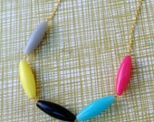 Kindergarten Style Multicolored Beaded Necklace - Gray Yellow Black Blue Pink