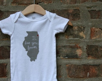 IL love you forever (Chicago Love) Screenprinted Baby bodysuit - FREE SHIPPING