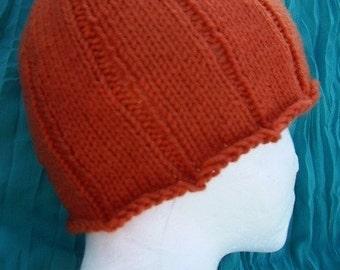 Pumpkin Handknit Hat (Teen/Adult) - Halloween Hat - Fall Hat - Fun Costume Hat - Autumn Fashion - Ready to Ship