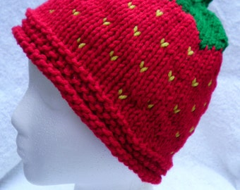 Strawberry Handknit Hat, Teen Hat, Fruit Hat, Costume Hat, Strawberry Costume Hat, Cosplay Hat, Women's Hat, Ready to Ship