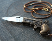 Pistol Gun Dragon Pocket Knife Necklace / Miranda Lambert Style Gun Necklace