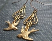 Vintage Sparrow Songbird Earrings