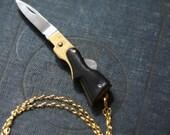 Gun Pocket Knife Necklace Brass Pistol with Black Bakelite Handle