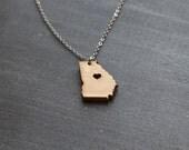 Georgia State Necklace - Bamboo - Georgia Necklace Georgia Pendant Georgia Charm Map Jewelry Wooden State Cutout Necklace