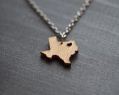 Tiny Texas Necklace - Bamboo - Texas State Necklace TX Wooden Charm State Love Necklace State of Texas Pendant Hometown