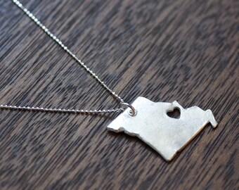 i heart Missouri Necklace - Silver Missouri State Love Necklace MO Necklace Custom Missouri State Heart Necklace Missouri With Heart