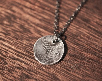 cattail necklace - silver spoon necklace - cattail jewelry - cattail pendant - cat tail necklace - sterling silver leaf nature