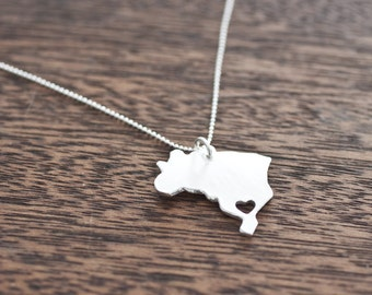 i heart Brazil Necklace - Silver - Brazil Country Necklace With Heart Custom Heart Brazil Necklace Love Brazil Country Love Brazilian