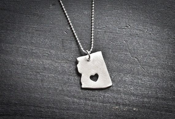 i heart Arizona State Necklace - Silver - Arizona Necklace AZ Necklace Arizona Pendant AZ State Charm Arizona Necklace With Custom Heart