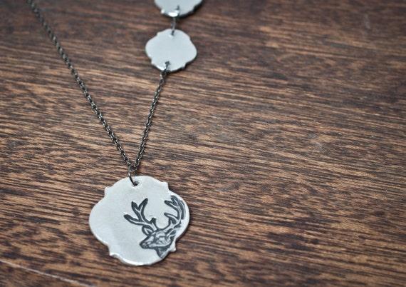 trophy buck necklace - Deer Antler Necklace Antler Jewelry Deer Antlers Silver Antlers Woodland Nature Hunter Hunting Deer Necklace Deer