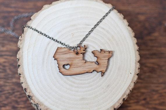 I heart Canada Bamboo - British Columbia Necklace Love Canada Necklace BC Necklace British Columbia Necklace Bamboo Necklace Charm Necklace