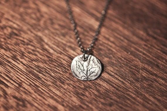 silverleaf necklace - spoon necklace - leaf necklace - flower necklace - leaf charm - leaf pendant - sterling silver