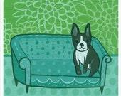 BOSTON TERRIER art print by Susie Ghahremani, dog artwork giclee reproduction