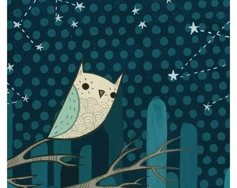 Owl Art - Night Owl Art Print by Susie Ghahremani / boygirlparty - Baby Owl Artwork - Baby nursery decor - starry night owl print