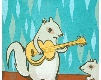 squirrel art / guitar art, rock music, susie ghahremani, baby squirrel art print, hipster squirrel art, music art print, guitar nursery art