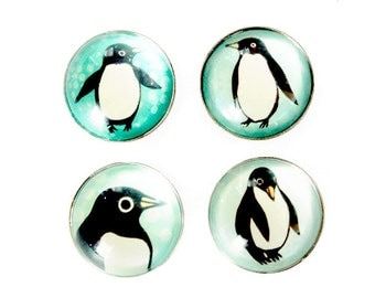 Holiday Favors - PENGUIN glass magnets glass PENGUIN art magnet set by boygirlparty - strong magnets - cute penguins winter home decor