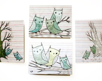 Hand Drawn Cards - Owl Card Set - Blank Notecards - Owl Hand Drawing