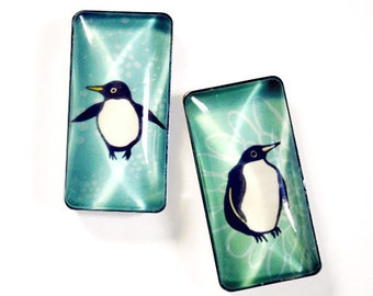 dorm decor, Antarctica Magnets, Penguin Gift, Penguin Magnet Set, Glass Magnets, North Pole South Pole, cute magnets refrigerator magnets