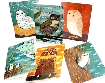 OWL NOTE CARDS set notecards owl illustrations art greeting card blank card set