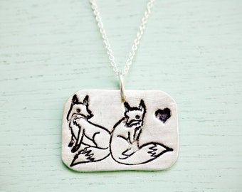 Sterling Silver Fox Necklace Fox Jewelry Silver Fox Jewelry fox pendant, cute fox necklace, fox gift, unique gifts for women,