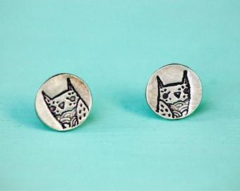 Woodland Animal Earrings, Sterling Silver Stud Earrings, Handmade Jewelry, Owl Gift, Everyday Stud Earrings