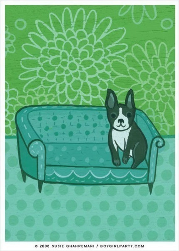 BOSTON TERRIER art print by Susie Ghahremani, dog artwork giclee reproduction