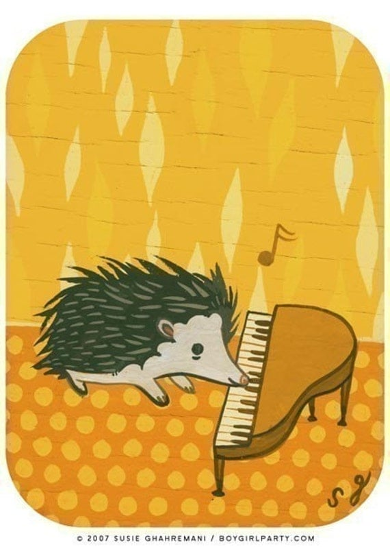 HEDGEHOG digital print art print by Susie Ghahremani, original illustration poster room decor nursery decor